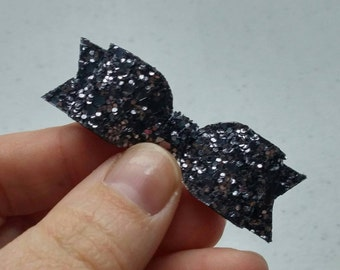 Metallic Gunmetal · Glitter Shrimp Bow {Headband or Clip}