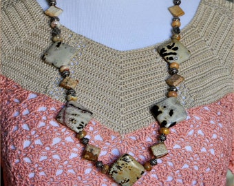 Dalmatian Jasper Beads, Boho Style Jewelry, Earthtone Necklace, Silver Beads, Brown and Tan Beads, Brecciated Beads, Tan Necklace,