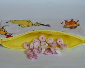 Dr. Seuss-Snack Bags- Reusable Snack Bags- Zippered Washable Snack Bags-Party favors-Snack Bags