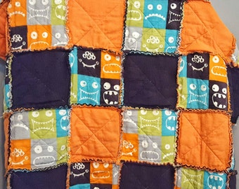Monster Rag Quilt - Baby Blanket - Nursery Bedding - Crib Bedding - Patchwork Quilt - Handmade Quilt - Halloween Decor - Crib Quilt
