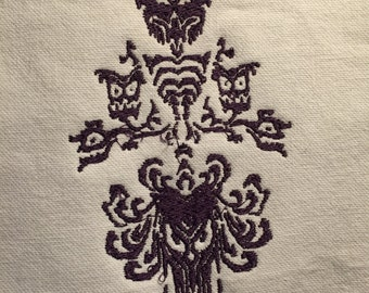 Re-imagined Haunted Mansion Wallpaper Ghouls Embroidery pattern