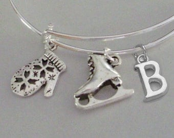 MITTEN / ICE Skate  W/ Initial  Christmas Adjustable BANGLE -Personalize Your  Bracelet - Gift For Her - Usa W1
