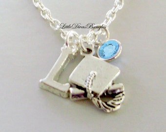 Graduation Cap Charm W/ Swarovski Birthstone & Silver Initial Graduation  Gift  For Her / Under 20 / Usa   NK1