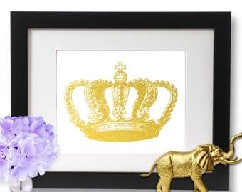 Gold Crown Art Gold Foil Print, Royal Princess Print, Home Decor, Gold poster
