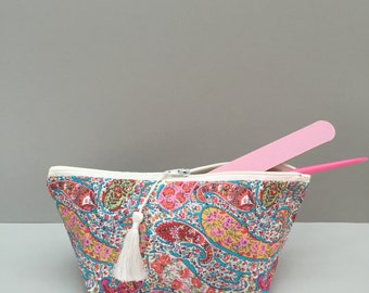 Liberty Print Make-Up Bag/ Cosmetic Pouch/ Liberty Print Bourton/ Bridesmaid Gift/ Bridesmaid accessory/ tassel zip pull