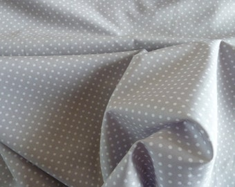 Grey Polka Dot Fabric - 100% Cotton Poplin. 112 cm wide Quilting, Dressmaking, Soft Furnishings, Crafts, Patchwork. 1/2 & Metre lengths