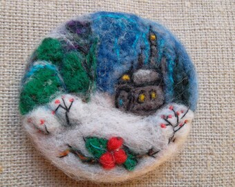 Needle felted brooch pin felt brooch imbroidered handmade, wool felted brooch felted brooch winter decoration christmas gift ooak