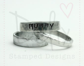 Personalised hand stamped ring, aluminium ring, rustic ring