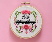 NO f**kboys hand stitched feminist phrase embroidery hoop art wall decor vulgar subversive cross stitch motivational unique gift for her