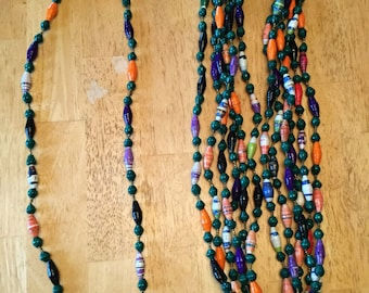paper bead necklace - green and multi