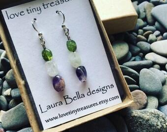 Amethyst Earrings/Purple, Green and White Dangle Earrings