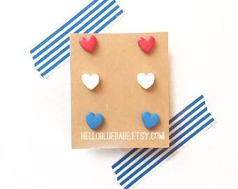 Heart Trio Set, Heart Earrings, Patriotic Earrings, Heart Studs, Fourth of July Earrings