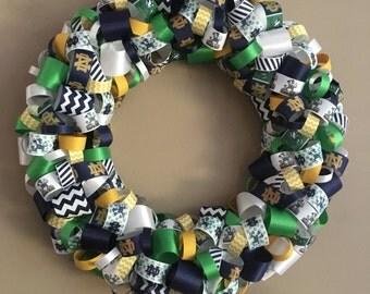 Notre Dame Ribbon Wreath-Notre Dame-Irish Decor-Notre Dame Decor-Notre Dame Wreath-Notre Dame Decoration-Notre Dame wreath
