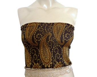 Gold Paisley Jersey Tube / Bustier Top
