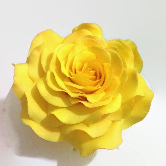 "Yellow Large 5"" Rose Sugar Flower Gumpaste Rose for Wedding Cake Toppers"