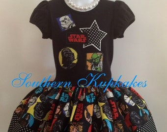 Star Wars Inspired 2pc. Twirl Dress Custom Boutique Pageant All Sizes Darth Vader Princess Leia Yoda R2-D2 Luke Skywalker Movie Theme Wear