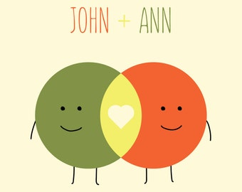 Custom Name Print - Venn Diagram Love - wedding-birthday-anniversary gift