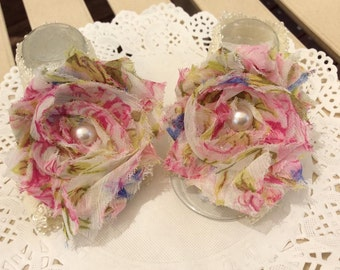 Adorable Floral Print Shabby Chic Chiffon Baby Girl Barefoot Sandals *new*