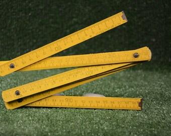 Vintage folding wooden metre Folding measure ruler Meter Carpenter joiner Business tool  Unused Yellow measure meter