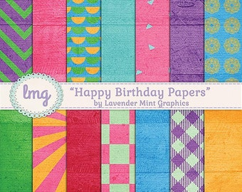 Rainbow Digital Paper Pack, Happy Birthday, Geometric Backgrounds, Buffalo Check, Plaid Check, Bright Colors, Instant Download
