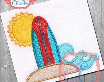 SURF N SUN  Applique Design For Machine Embroidery