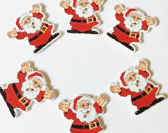 Santa Buttons x 6