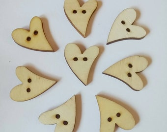 Light Wooden Heart Buttons x 8