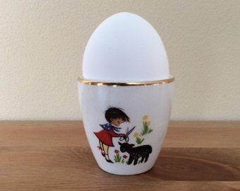 Vintage Arklow Pottery Egg Cup with Girl Shearing Sheep Little Bo Peep Baa Baa Black Sheep Republic of Ireland