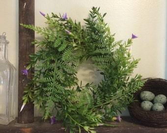 Super-Mini Fern Wreath with Purple Flowers