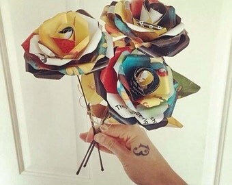 Bunch of 3 book roses