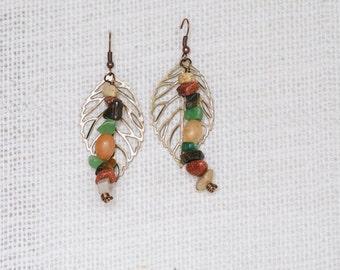 Leaf and Gemstones Earrings