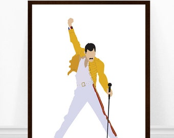 Freddie Mercury Art Print, Queen Print, Freddie Mercury Yellow Jacket, Minimalist Portrait Art, Queen Poster