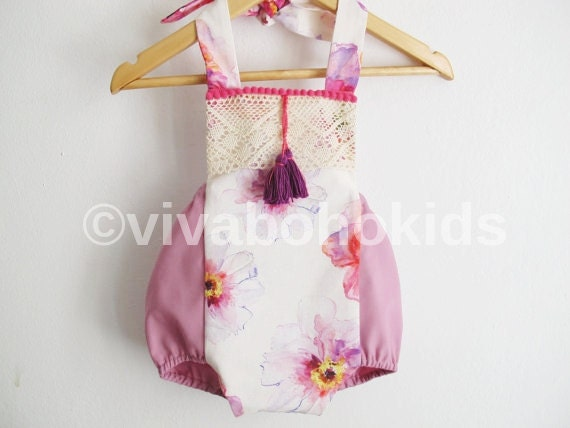 Purple Baby Girl Romper Boho Chic Sunsuit Baby Clothes