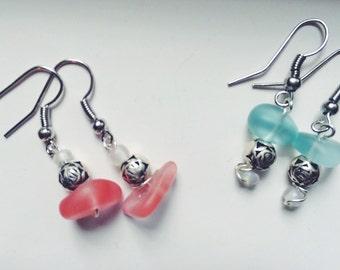 Turqiouse glass handmade earrings (one pair)