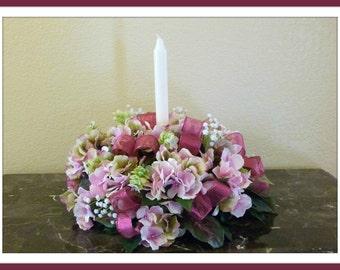 Pink Hydrangea Candle Centerpiece, Hydrangea Candle Ring, Hydrangea Floral Arrangement