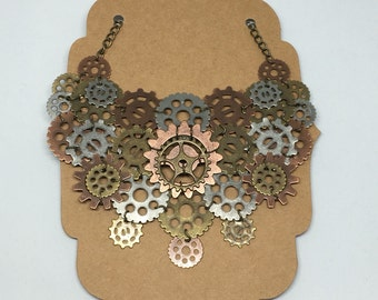 Steampunk necklace, gears and cogs necklace, bronze necklace, copper necklace, silver necklace, brass necklace, steampunk jewlery.