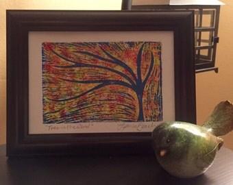 Tree in the Wind Wood Block Print - Original Painting - Tree Art - Relief Print - Colorful - Linocut Print