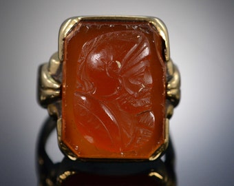 10K Vintage 19x14mm Carnelian Cameo Ring - Size 7.25 / Yellow Gold - EM583