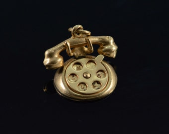 14K 3D Articulated Vintage Telephone Charm/Pendant Yellow Gold - EM1100