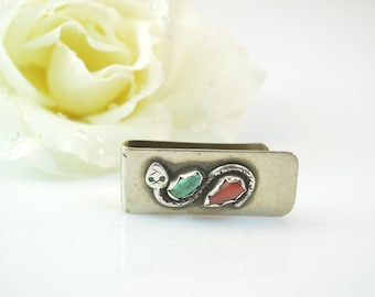 Viola Valava Turquoise and Coral Snake Money Clip - 14.5g