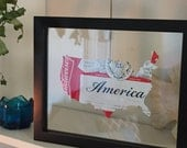 Budweiser USA Hand Cut Beer Can Art in a Float Frame- Perfect for you Bar or Man Cave!