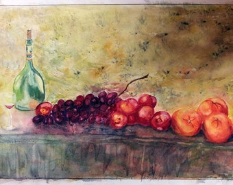 Table Wine - by Ruth J. Okerlund, Art Work, Giclee Print, Watercolor, Art Print, Archival Print