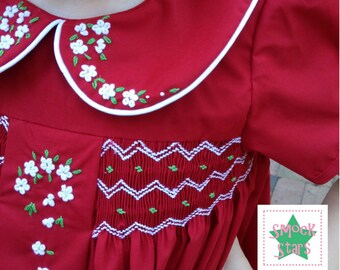 Smocked Christmas Dress with Hand-Embroidered Flowers - PRE-ORDER