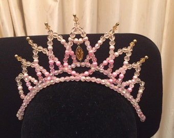 Pink-gold ballet dance tiara with pearls