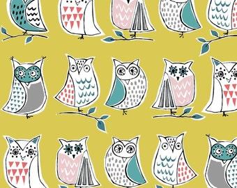 Monaluna ORGANIC FABRIC - Anya Knit - Hootenanny Owls Yellow