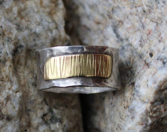 Sterling Silver w/ 14kt Gold Hammered  Ring