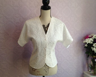 Fitted White Lacy Blouse by Charlotte Halton, London-New York