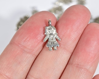 10 Silver doll charms | little girl charms | children charms | family charms | mother's day charms | toy charms | silver girl charm | SC1211