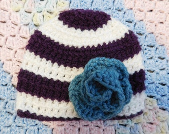 Purple Blue Rosette Beanie