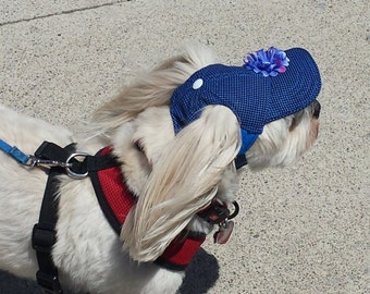 Dog Hat - Sun Protective. Blue Cotton Mix Fabric with Blue or White Finishes. Custom Made- Please Send ABCD Measures With Your Order.